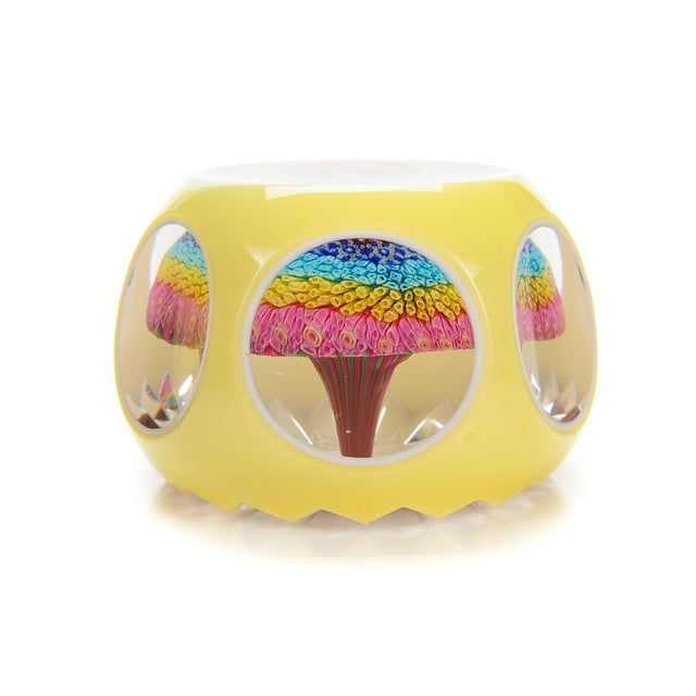 Baccarat Double Overlay Yellow Glass Paperweight - Image 2 of 8
