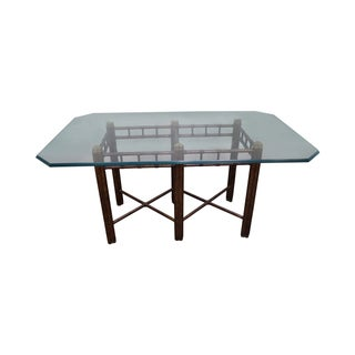 Faux Bamboo Tortoise Shell Painted Dining Table
