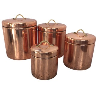 Vintage Nesting Copper Canisters - Set of 4