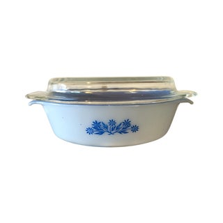 Fire King Blue Cornflower Oval Casserole
