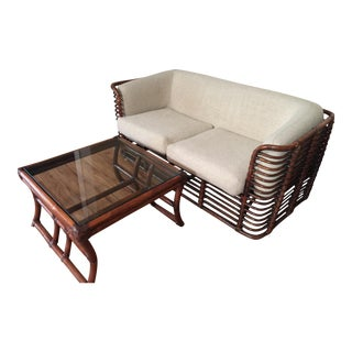 Vintage Brown Jordan Rattan Sofa and Table