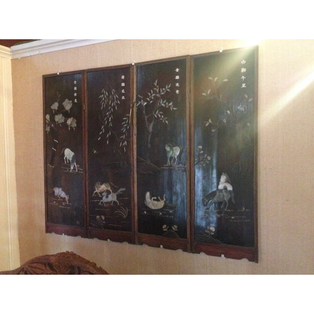 Old Asian Three Panel Screen With Jade and Ivory - Image 3 of 7