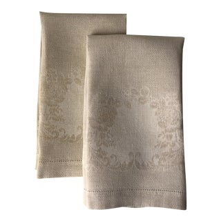 2 Irish Linen Damask Guest Towels