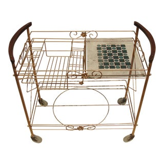 1950s Atomic-Style Rolling Bar Cart