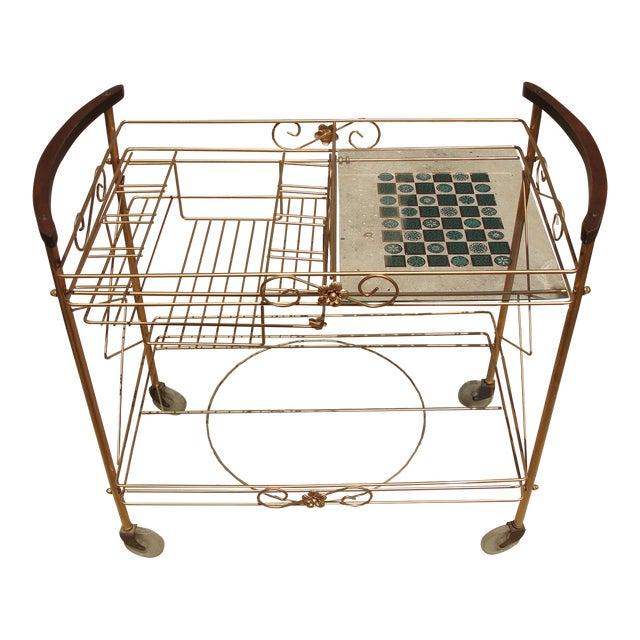 Image of 1950s Atomic-Style Rolling Bar Cart