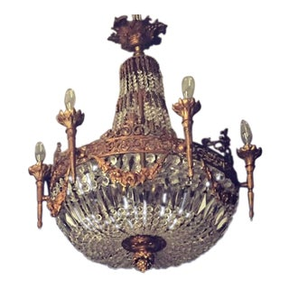 French Louis XVI Style Large Crystal Chandelier