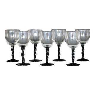 Mid- Century Modern Red Wine Glasses - Set of 7