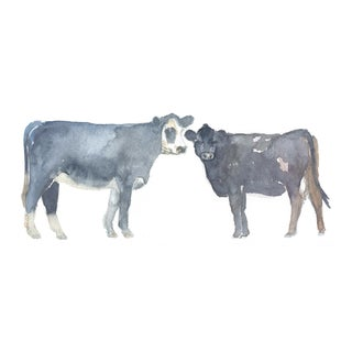 Original Pair of Cows Watercolor Print by Lexie Armstrong