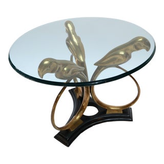 Brass and Metal 1960s Parrot Side Table with Glass Top
