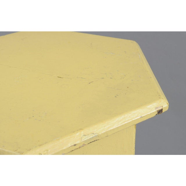 Primitive Rustic Moorish Style Yellow Painted Arched Accent Side Table - Image 8 of 11