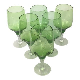 Mid-Century Green Crystal Wine Glasses - Set of 6