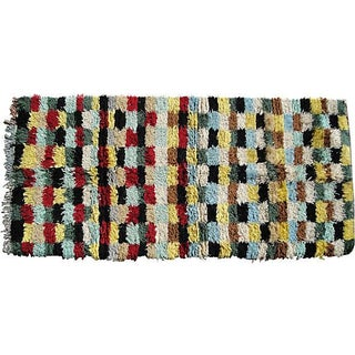 "Checkered Moroccan Wool Rug - 5'7"" x 3'3"""