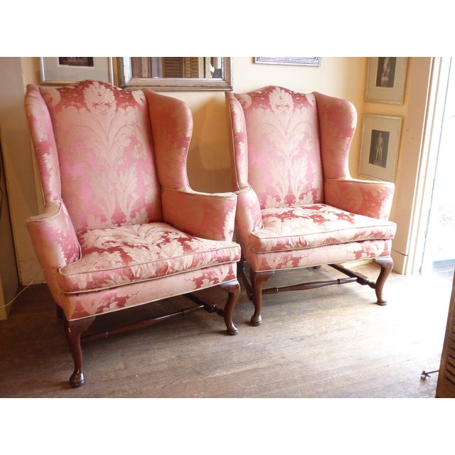 Vintage Cherry Wingback Chairs - a Pair - Image 2 of 6