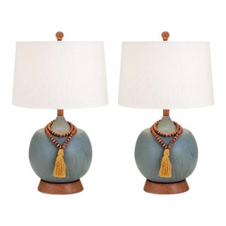 Blue Boho Chic Tassel Table Lamps - A Pair
