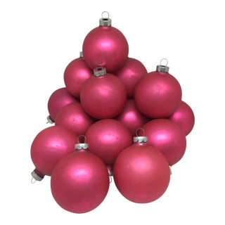 Vintage Pink Glass Ornaments Set Of 16