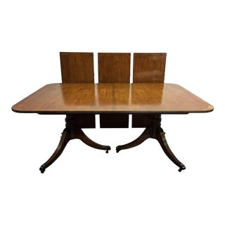 Antique Walnut Double Pedestal Dining Table