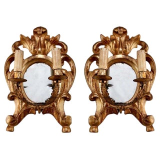 19th Century Carved Gilt Wood Two Light Mirror Back Sconces