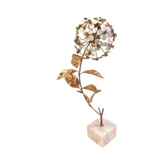 Hollywood Regency Metal Flower Sculpture