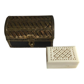 Ivory & Wood Trinket Boxes - A Pair