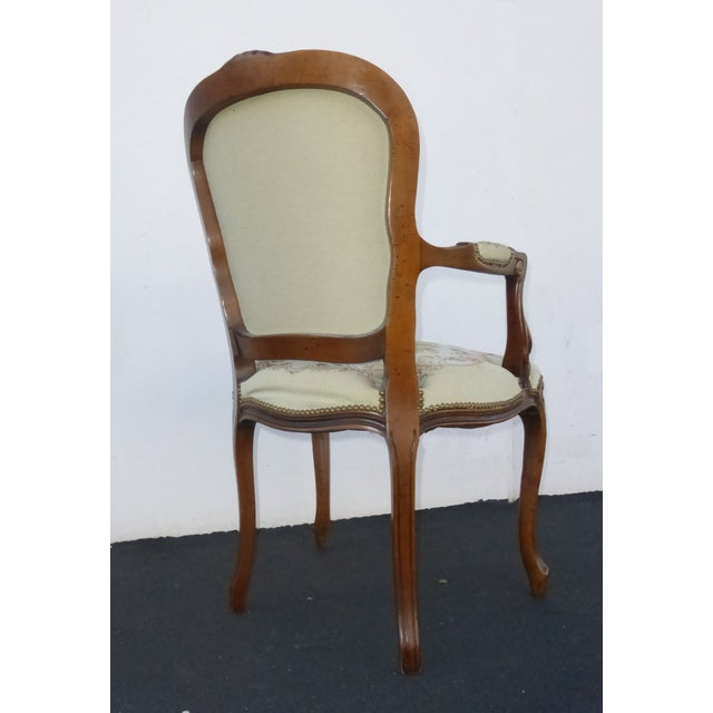 Vintage French Provincial Accent Arm Chairs - Pair - Image 5 of 11