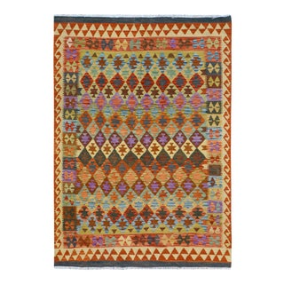 Kilim Arya Antonia Rust& Purple Wool Rug - 4'9 X 6'4