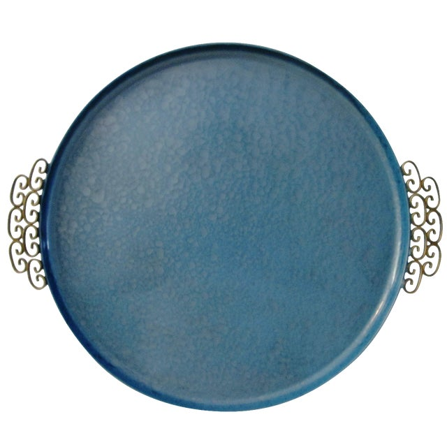 Mid-Century Moiré Glaze Kyes Powder Blue Tray - Image 1 of 4