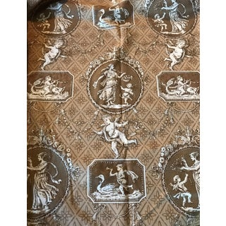 "Brown Cotton ""Cupid's Toile"" Fabric - 4 Yards"