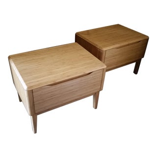 Mid-Century Single Drawer Bamboo Nightstands - A Pair