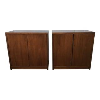 Vintage Steelcase Walnut Storage Cabinets - A Pair