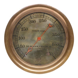 Early 20th C. Brass Pressure Gauge