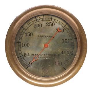 Early 20th C. Brass Pressure Gauge