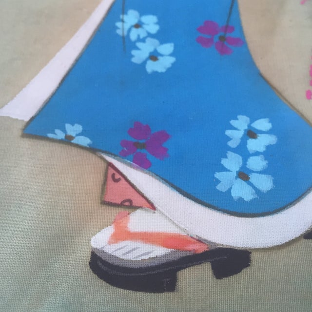 Japanese Hand Painted Silk - Image 5 of 11