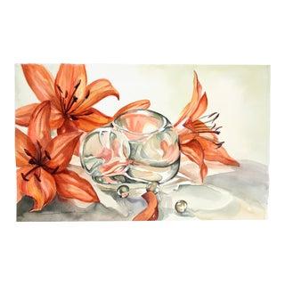 Lilies & Glass Kitten by Gail Overpeck
