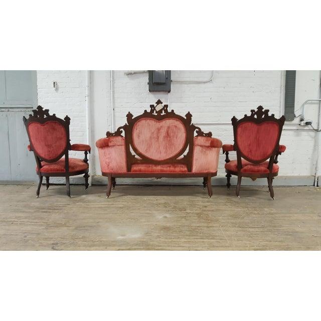 Antique Eastlake Heart-Back Red Velvet Settee & Chairs- Set of 3 - Image 6 of 9