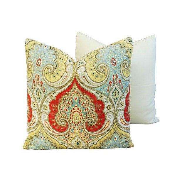 Custom Kravet Latika Festival Linen Pillows - Pair - Image 4 of 7