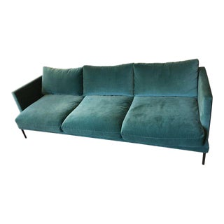 Anthropologie Teal Velvet Sofa