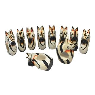 Wooden Zebra Napkin Rings - Set of 10