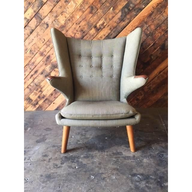 Authentic Hans Wegner Papa Bear Chair With Ottoman Chairish