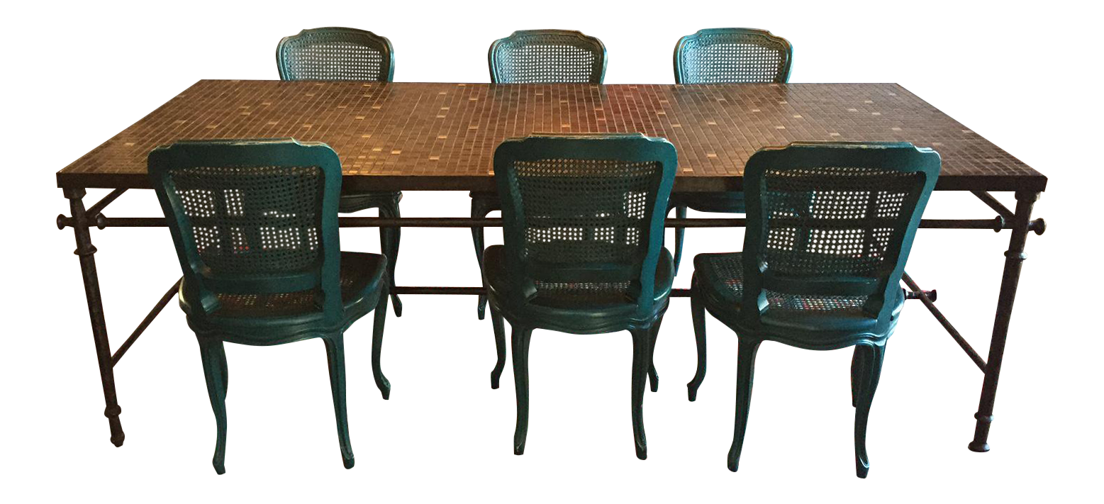 Iron U0026 Mosaic Dining Set   Table U0026 6 Chairs