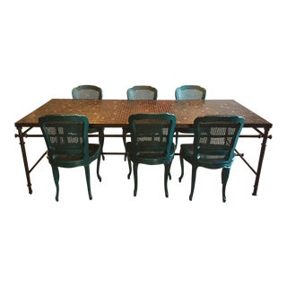 Iron & Mosaic Dining Set - Table & 6 Chairs