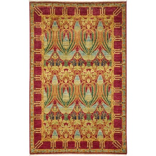 "Arts & Crafts, Hand Knotted Wool Area Rug - 3' 10"" X 5' 10"""