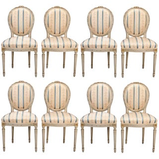Set of 8 French Louis XVI Cameo Back Dining Chairs With New Upholstery