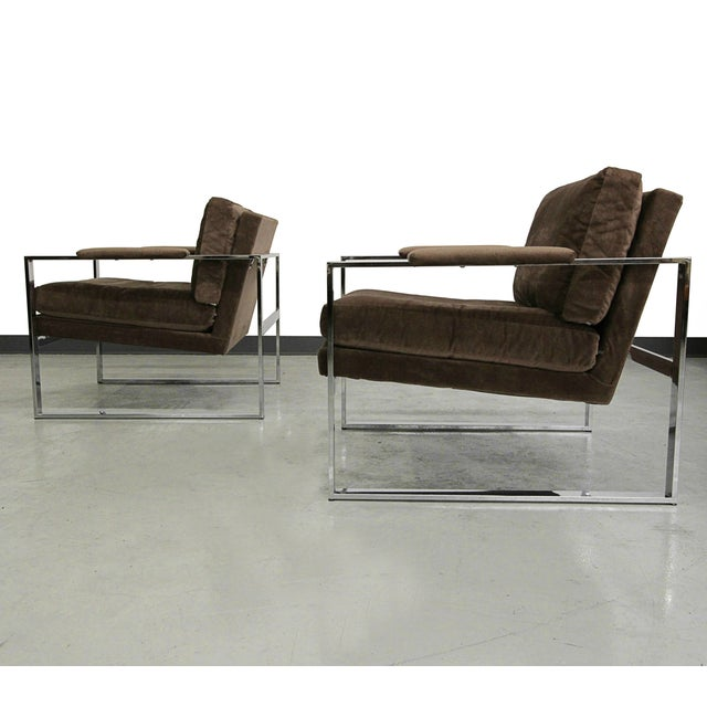 Baughman Chrome Mid Century Lounge Chairs - Pair - Image 4 of 6