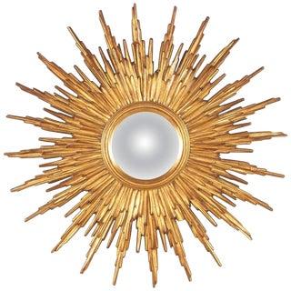 Mid-Century French Giltwood Convex Sunburst Mirror