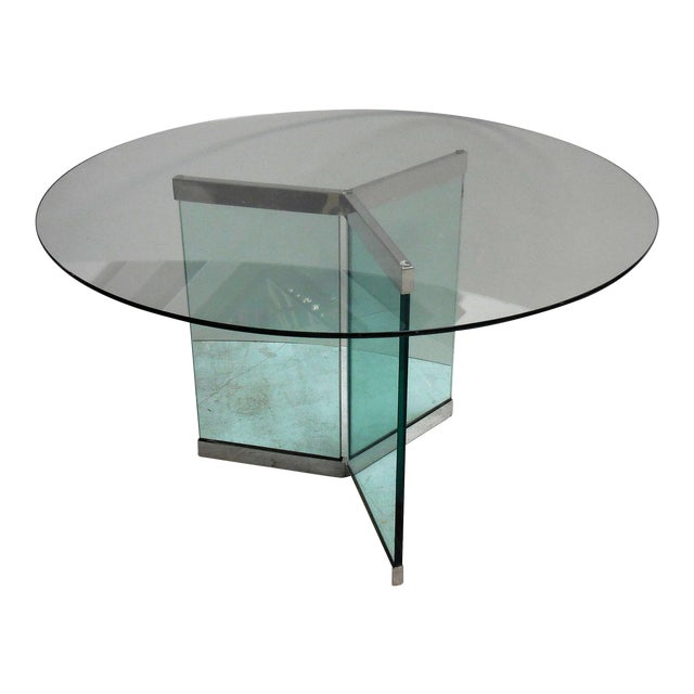 Pace round chrome glass dining table chairish for Round glass and chrome dining table