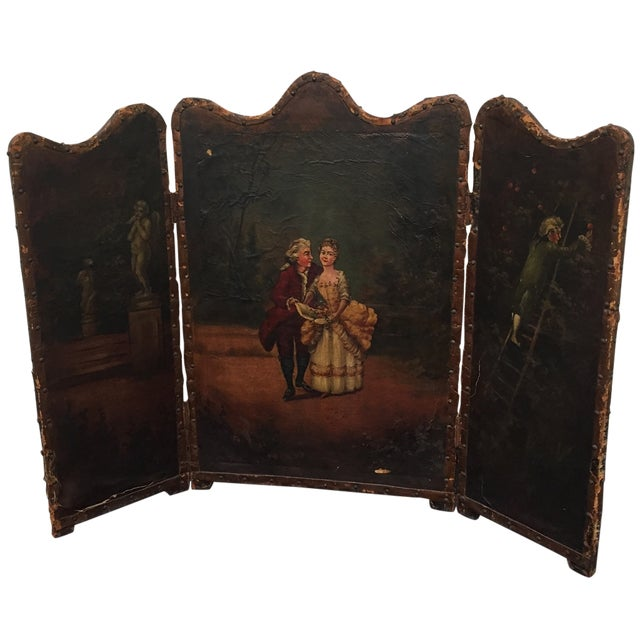Antique Painted Fireplace Screen - Image 1 of 9