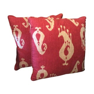 Red Ikat Print Pillows - A Pair