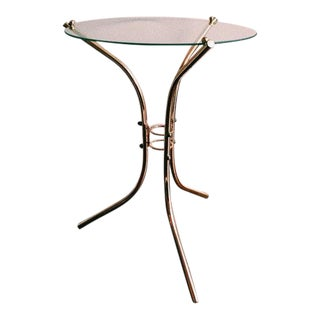 Vintage Glass & Brass-Plated Tripod Side Table