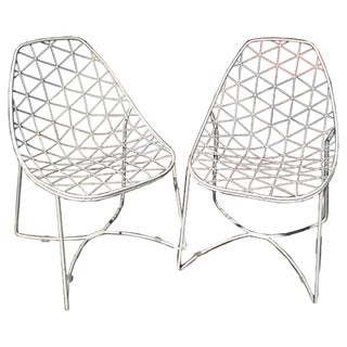 White Metal Indoor or Outdoor Chairs - A Pair