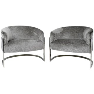Pair of Milo Baughman Chrome Barrel Back Lounge Chairs